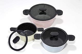 Mulex 120311Happiness Inducción Set 6piezas. Juego de cazuelas, olla, Asar y cocinar con tapa, aluminio fundido con recubrimiento Stonehenge y asas de silicona, Rose, vainilla y Bleu