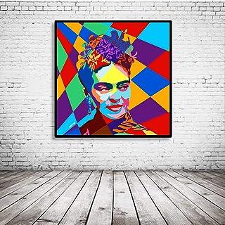 Pop Art Frida Kahlo Poster dans le Cadre - 95 x 95 cm - Framed Papier Photo mat 180 Gramme - Tableau Affiche Pop Art Peint...