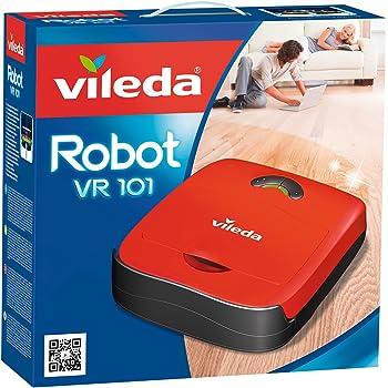 Vileda VR 101 - Robot aspirador y escoba para suelos duros y alfombras de pelo corto, 2 programas de limpieza, sensores de desnivel, depósito de suciedad de 0,37 litros, 65 decibles, color rojo: Amazon.es: Hogar