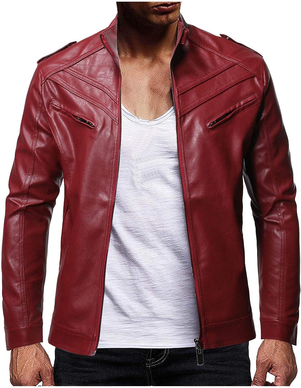 Men's Faux Leather Jacket Diagonal Collar Zipper Jackets Casual Lightweight Windbreaker Outwear Winter Warm Fleece