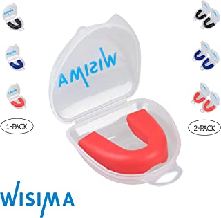 Wisima Mouth Guard Sports - Boil and Bite Custom Fit Mouthguard for Football, Lacrosse, Basketball, Boxing, Hockey, MMA, Rugby - Vented Case Included - Youth/Adult Size - BPA and PVC Free