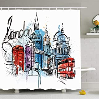 Ahawoso Shower Curtain for Bathroom 72x78 Headline Blue Painting Taxi Visiting London Abstract Letter Red Sketch Vintage Bus Travel Sightseeing Waterproof Polyester Fabric Bath Decor Set with Hooks