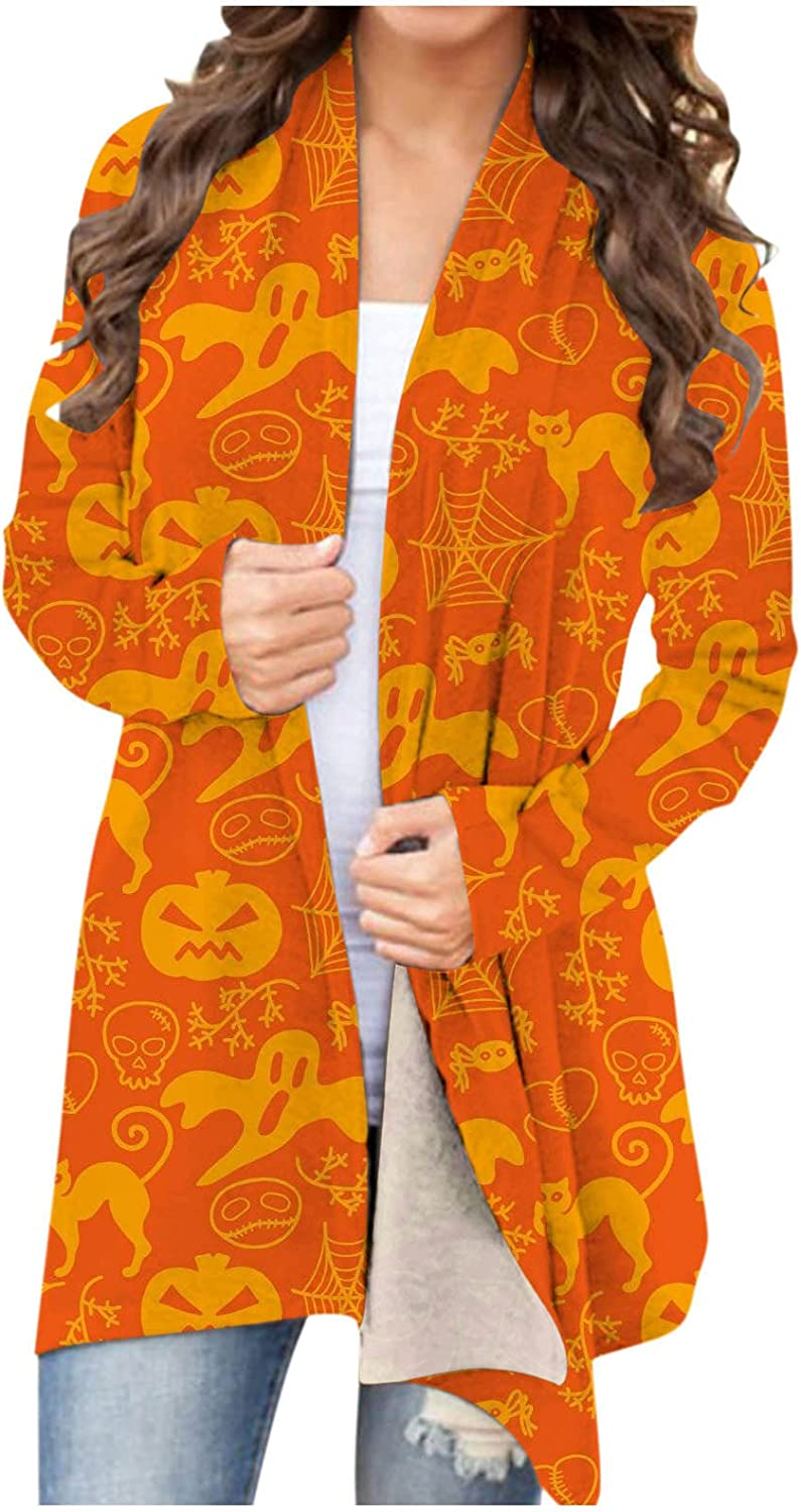 Halloween Cardigan for Women,Long Sleeve Open Front Casual Cardigan Funny Pumpkin Graphic Soft Lightweight Tops