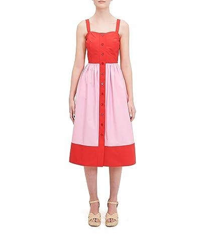 Kate Spade New York Color-Block Poplin Dress (Lava Red) Women