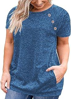 VISLILY Women's Plus Size Short Sleeve Buttons Blouse...