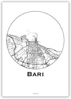 Poster Bari Italia Minimalista Mappa - Mappa della città, stampa d'arte