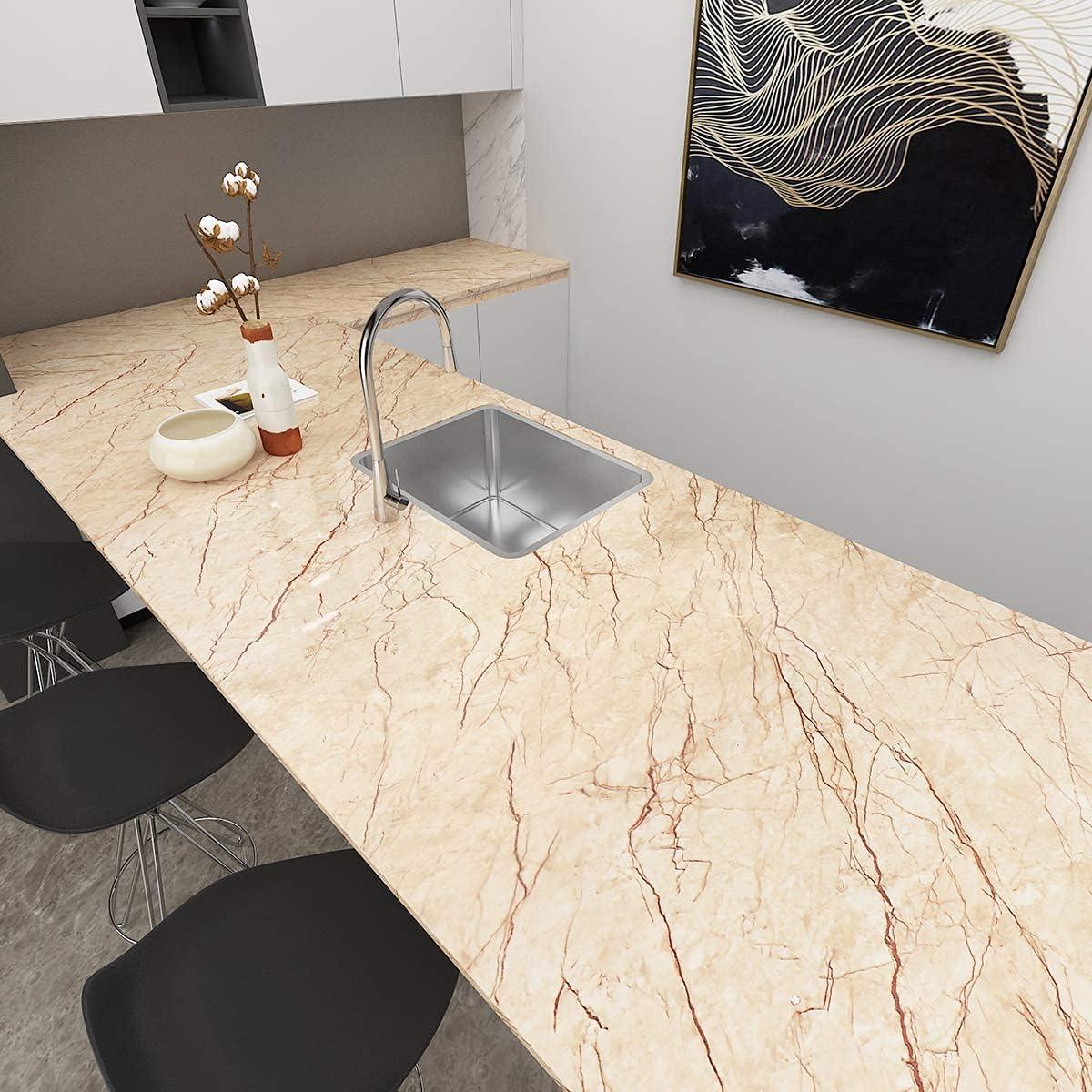 Buy Livelynine Vinyl Countertop Contact Paper Waterproof Marble ...