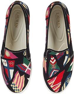 Lauren Ralph Lauren Jinny Sneaker Nautical Flag Print/Black Canvas 6.5 B (M)