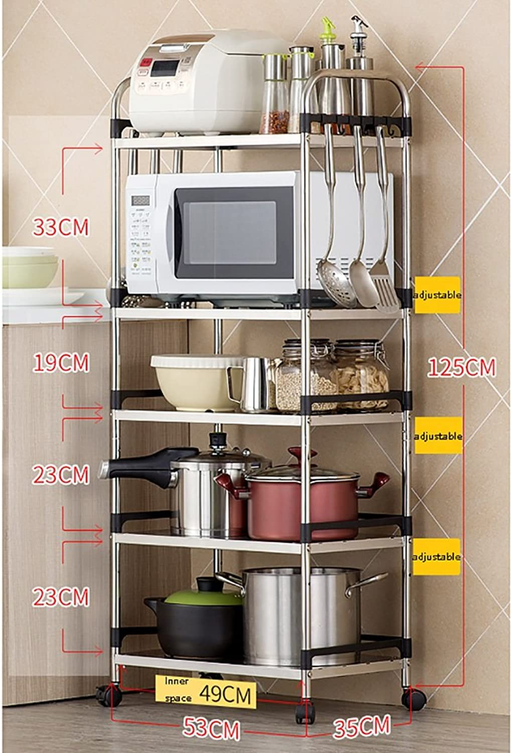 LXLA  Stainless Steel Kitchen Shelves 3 Tier Microwave Rack ...