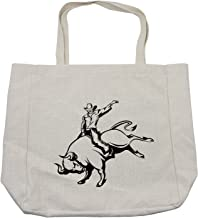 Ambesonne Rodeo Shopping Bag, Cowboy Riding a Wild Bull Minimalist Folklore Old West Extreme Sports, Eco-Friendly Reusable Bag for Groceries Beach and More, 15.5