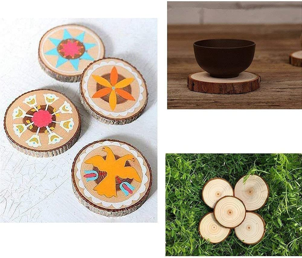 Unfinished Natural with Tree Bark Wood Slices 10 Pcs 11-12cm Disc Coasters Wood Coaster Pieces Craft Wood kit Circles Crafts Christmas Ornaments DIY Crafts with Bark for Crafts Rustic Wedding ORN