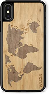 Wooden Phone Case (World Map Bamboo Inlay) Compatible with iPhone X, iPhone Xs
