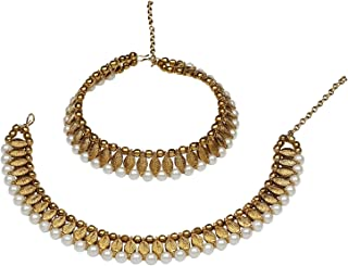 Efulgenz Indian Bollywood Gold Plated Faux Pearl Leaf Wedding Bridal Anklet Pair (2 Piece) Bracelet Payal Foot Jewelry