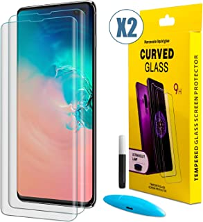 [2 Pack] Galaxy S10 Plus Screen Protector, [No Bubbles] [9H Hardness] 0.15m Ultra Thin 3D Curved Edge Tempered Glass Screen Protector Support Fingerprint Sensor Compatible with Samsung Galaxy S10 Plus