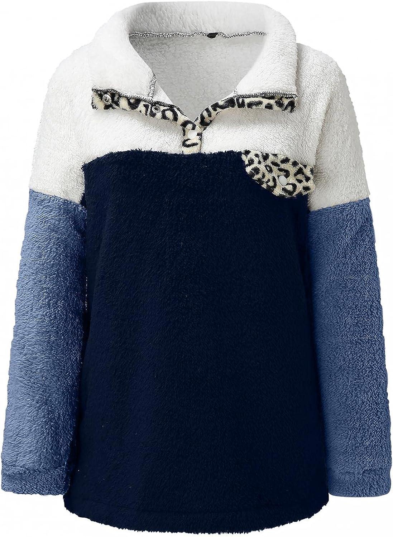 Misaky Women Fleece Leopard Coat Sweatshirt Winter Warm Wool Pockets Patchwork Coat Outwear