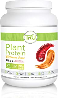 TRU Plant Based Protein Powder, Natural Flavor, Vegan & Keto Friendly, No Artificial Sweeteners, No Dairy, No Soy, 25 Serv...