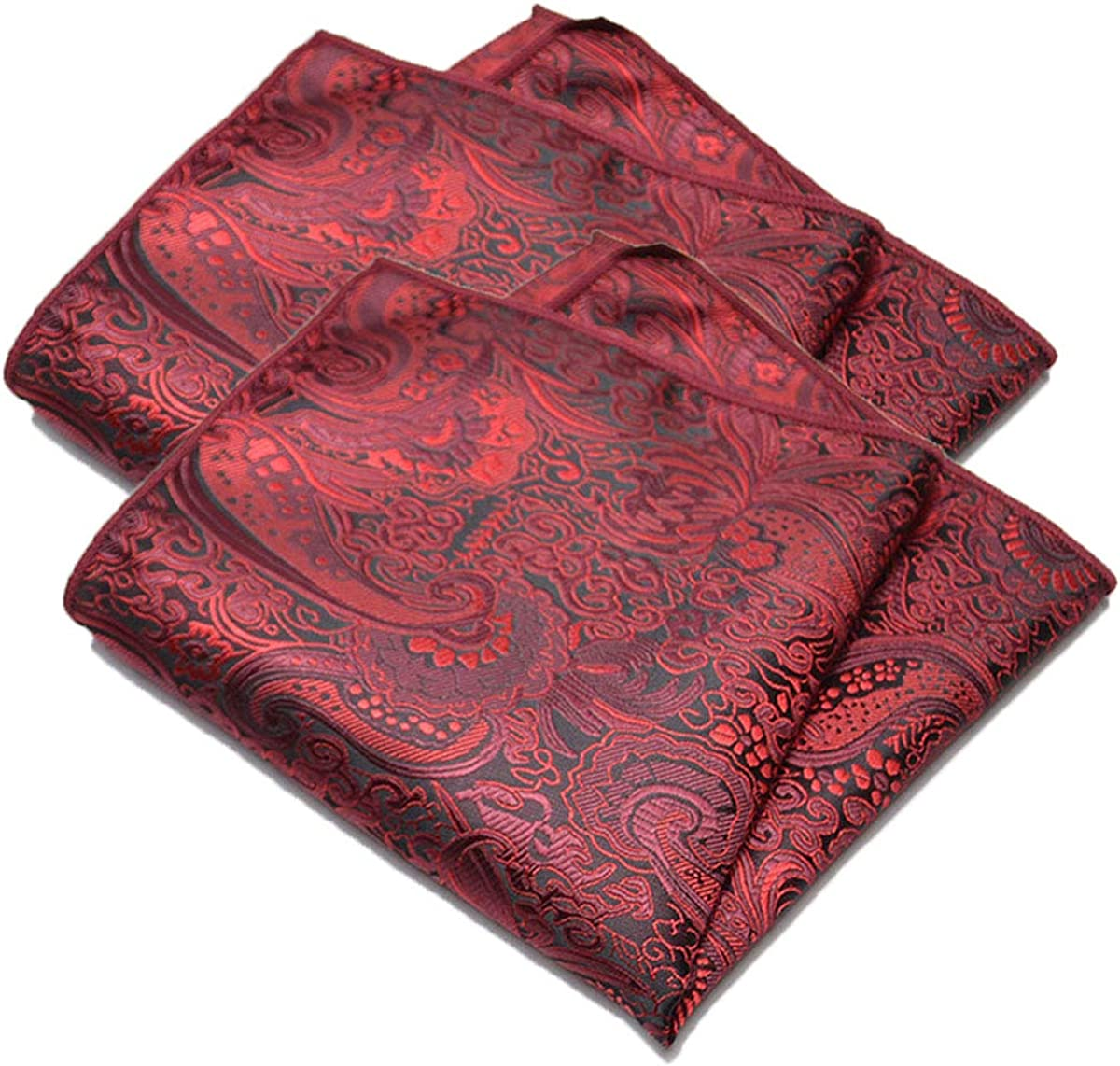 2Packs Men's Polyester Yarn Fashion Flower Handkerchiefs for Casual Business