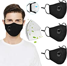 3 Pack Reusable Face_Mask with Breathing Valve, Washable Facemask with 10PC Activated Carbon Filters,Cotton Face Filter wi...