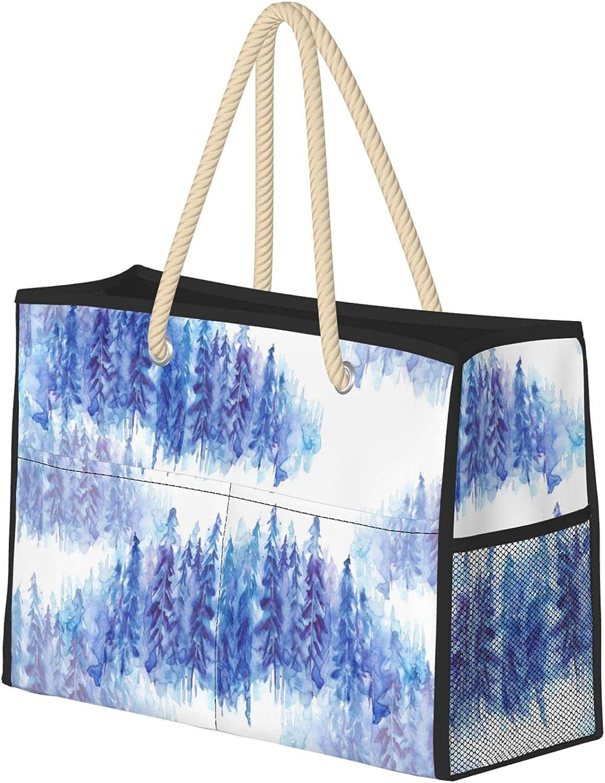 Blue Spruce Women Beach Bag Travel Reusable Detroit Mall Tote Gro Super-cheap Utility