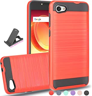 Alcatel A50 Case,Alcatel Crave Case,Alcatel PULSEMIX Case,Alcatel PULSEMIX A50 Case with Phone Grip,Ayoo Brushed Texture Full-Body Shockproof Protective Cover Design for Alcatel A50-ZS Red