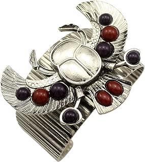 Q&Q Fashion Egyptian Revival khepri Scarab Beetle Bead Wing Art Deco Bracelet Bangle Cuff
