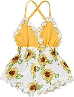 Newborn Baby Girl Clothes Onesies Sunflower One Piece Romper Toddler Halter Backless Jumpsuit Bodysuit 0-3T