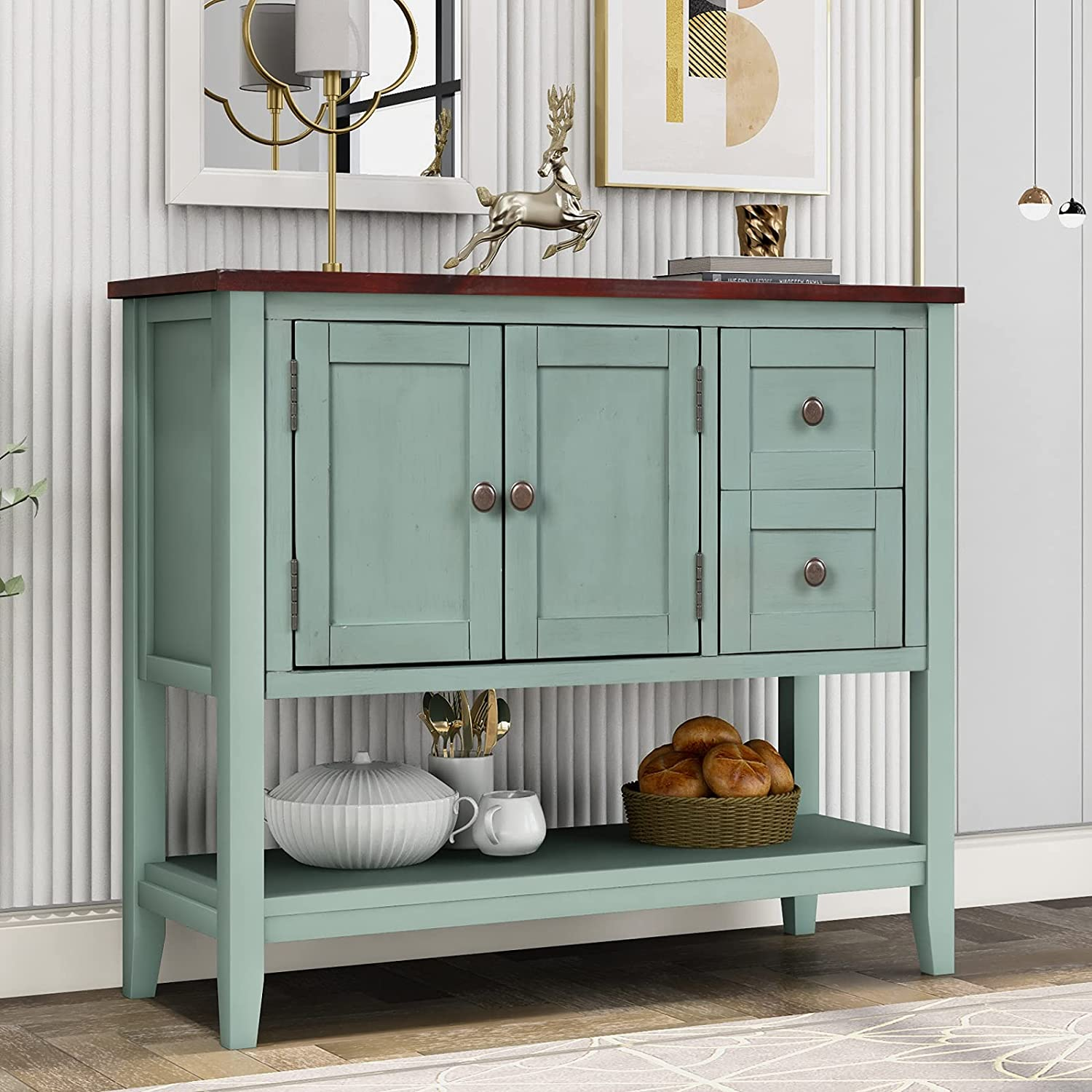 Narrow All items in the store Console Table with Max 66% OFF Farmhouse Buffet Drawers Cabinet