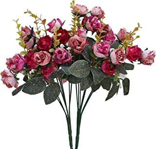Luyue 7 Branch 21 Heads Artificial Silk Fake Flowers Leaf Rose Wedding Floral Decor Bouquet,Pack of 2 (Rose Coffee)