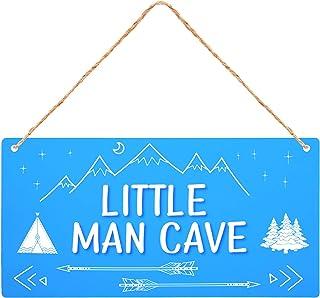 Little Man Cave Hanging Sign, 12 x 6 Inch Acrylic Hanging Boys Door Sign for Little Boy Toddler Boy Kids Baby Door Bedroom...