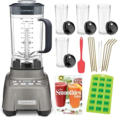 Cuisinart CBT-1500 Hurricane Blender with Spatula, 4 Cups, Recipe Book, Straight/Curved Straws and Ice Cube Tray Bundle (6 Items)