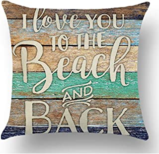 WePurchase Word Art I Love You To The Beach And Back Quote Retro Blue Brown Wood Background Decoration Cotton Linen Decorative Home Sofa Living Room Throw Pillow Case Cushion Cover Square 18x18 Inches
