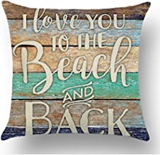 WePurchase Hand Painted Words I Love You to The Beach and Back Colorful Wood Grain Background Quote Cotton Linen Decorative Home Sofa Living Room Throw Pillow Case Cushion Cover Square 18x18 Inches