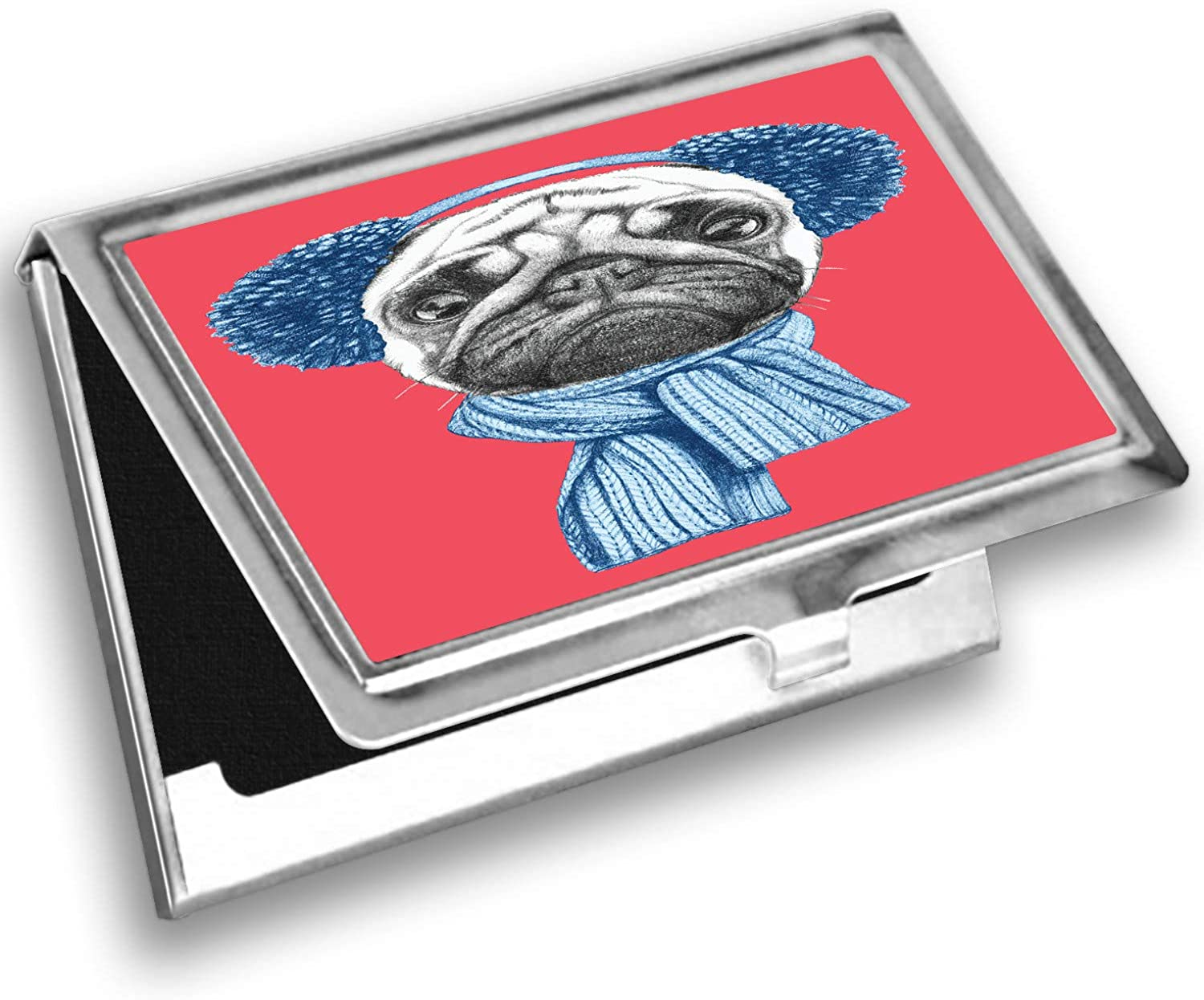 Ambesonne Pug Card Holder, Winter Dog with Earmuffs, Metal Card Wallet