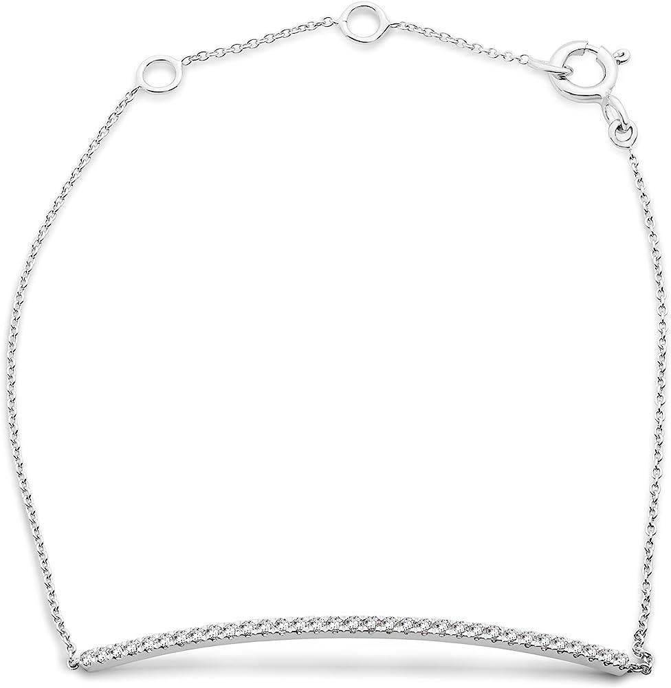 Miore  bracciale da donna estensibile, in oro bianco 9 kt (1.3 grammi), diamante 0,22 ct, MY034B