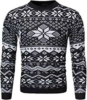 eipogp Mens Christmas Knitted Sweaters Slim Fit Printed Pullover Crewneck Ribbed Cuff Sweaters Jumper Thermal Winter Knitwear