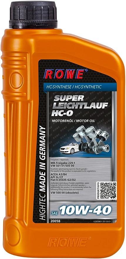 Rowe Hightec Super Leichtlauf 10w 40 Hc O 1 Liter Pkw Motoröl Vollsynthetisch Hc Synthese Made In Germany Auto