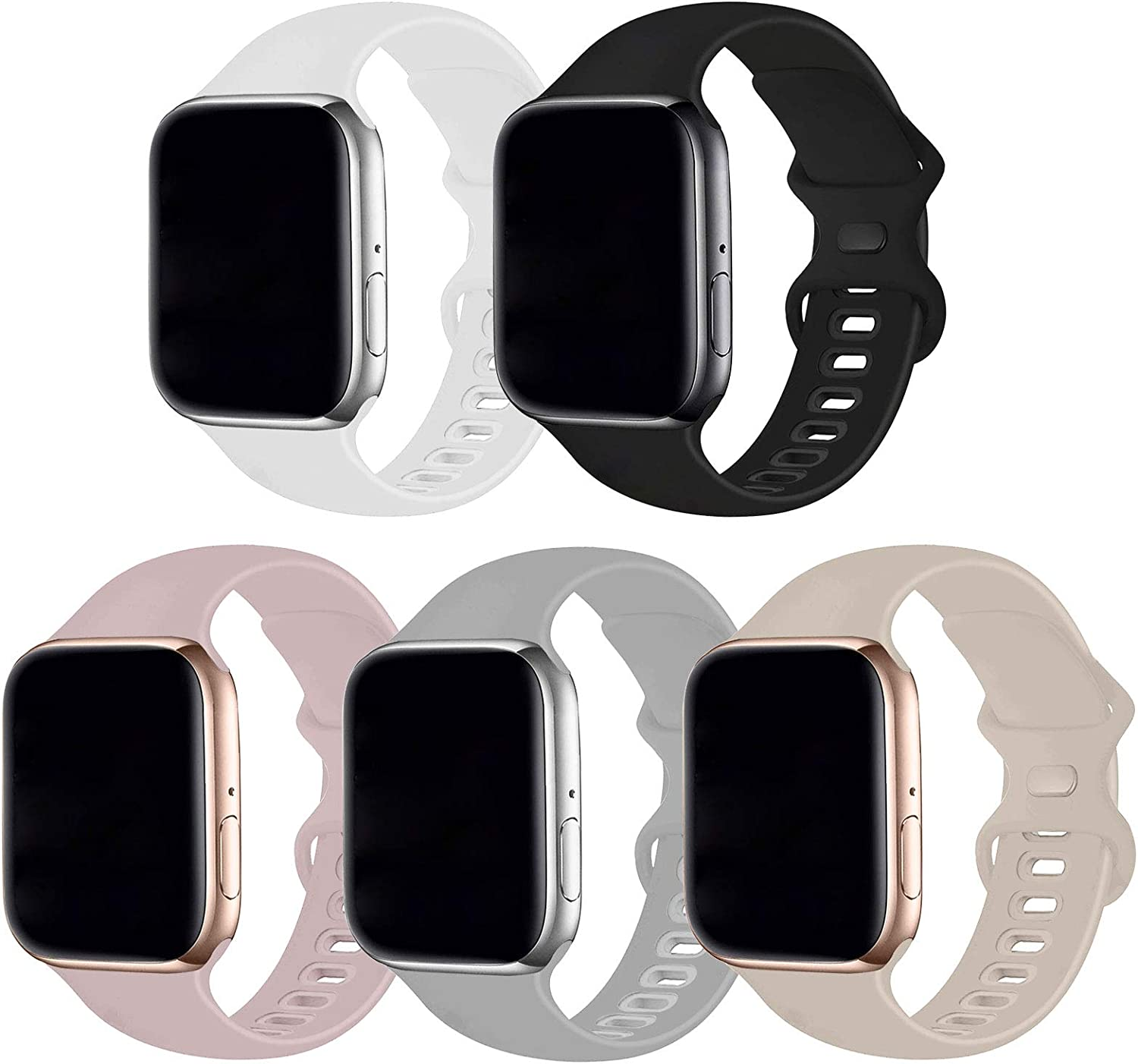 Bifeiyo 5 Pack Compatible with Apple Watch Band 38mm 40mm SM,Soft Silicone Sport Replacement Straps Compatible for iWatch Series6/5/4/3/2/1/SE(Pink Sand/Black/White/Fog/Stone)