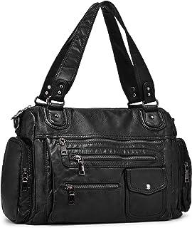 VINBAGGE Damen Handtasche Große Schultertasche PU Leder Henkeltasche Frauen Weiches Hobo Tasche Umhängetasche für Reisen Schule Shopping Mädchen - Schwarz