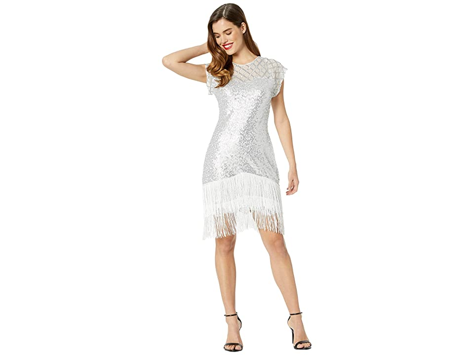 Unique Vintage 1920s Fringe Del Mar Flapper Dress (Antique Silver) Women