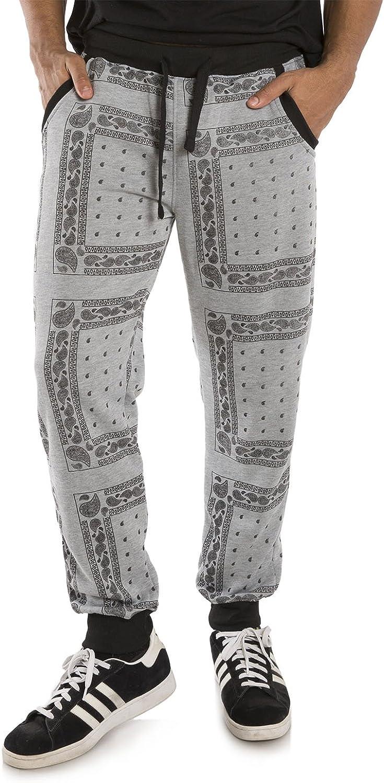 Fresno Mall Vibes Popular Men Bandanna Printed Fleece Contrast Jogger Rib Sweatpants