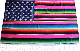 Del Mex Mexican Serape Blanket Flag Stars and Stripes (Pink)