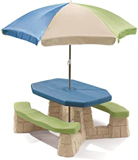 Step2 Naturally Playful Picnic Table with Umbrella, Blue and Green 843800