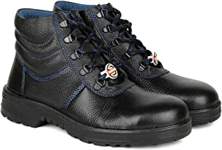 Liberty Warrior 98-02-SSBA High Ankle Length Safety Shoes for Men Industrial Steel Toe Light Weight, Black