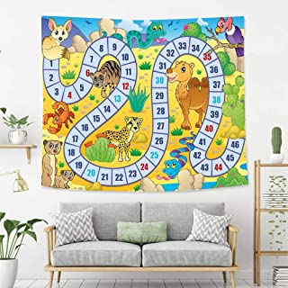 Colorful Art Design Tapestry Board Game Desert Fauna Wildlife in Cartoon Style Cactus Plants Animals Boys Girls Playroom Tapestry, Living Room Bedroom Decoration Tapestry, Mattress, Tablecloth