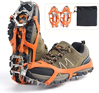 Traction Cleats Ice Cleats,Ice Snow Grips with 18 Spikes for Hiking Fishing Walking Climbing Jogging Mountaineering