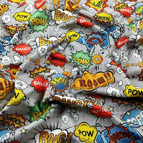 FS161_ 4Gris Diseño de cómic boom Bang Pow Knock lo Oops WOW impresión Alta calidad Jersey de buceo elástico Tela–se vende por metro