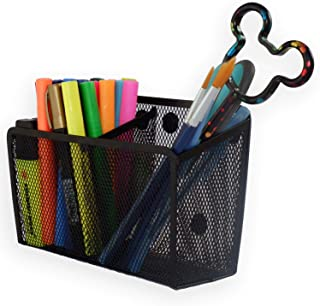 Magnetic Pencil Holder Organizer - Perfect for Locker Refrigerator Whiteboard Office Fridge - Metal Mesh Pen Cup for Accessories Marker Eraser Chalk Supplies - Strong Magnet Storage Bin Basket Storage