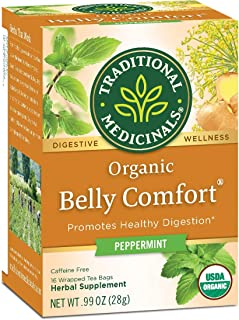 Traditional Medicinals Organic Digestive Tea, Belly Comfort with Peppermint - 16 Tea Bags (Pack of 2)