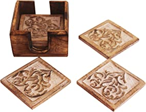 Set of 6 Wooden Coasters with Hand Engraved Holder- For Tea & Coffee Cups, Mugs, Beverages, Glass Drink Mats (Heart Hand Craved)