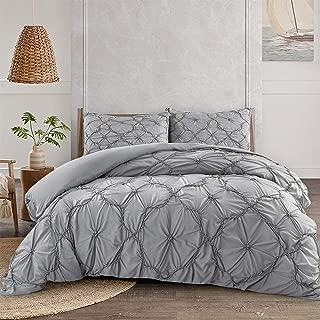 ARTALL Luxury Pinch Pleat Pintuck Duvet Cover Set, Elastic Embroidery Tufted Ruffles 2 Piece, Flower Pattern, Twin, Gray